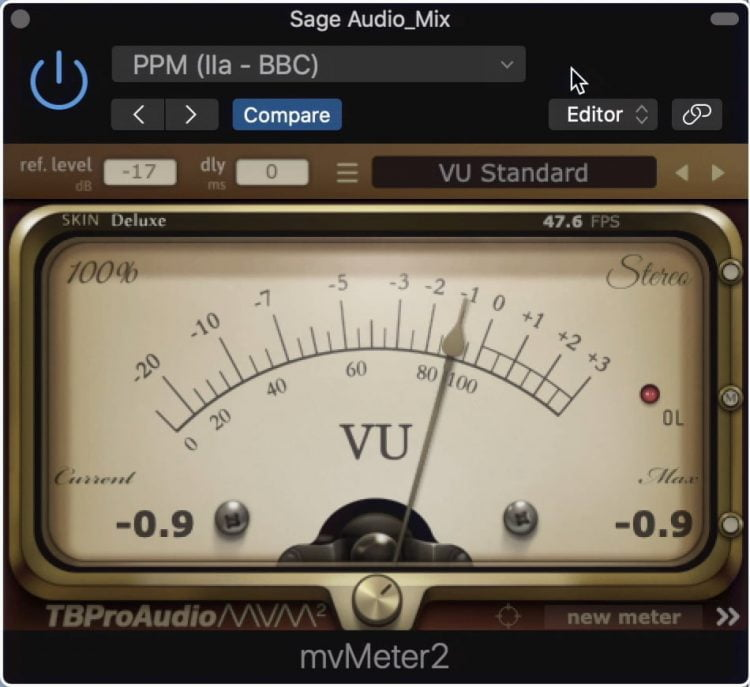 The window can be collapsed to just one VU meter.