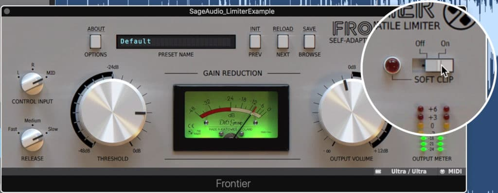 The soft clip function introduces mild harmonic distortion.