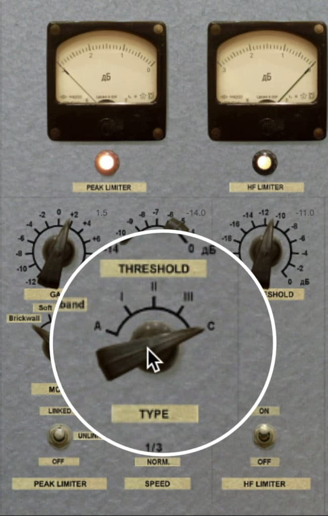 The threshold and compression type can be switched between 5 settings.
