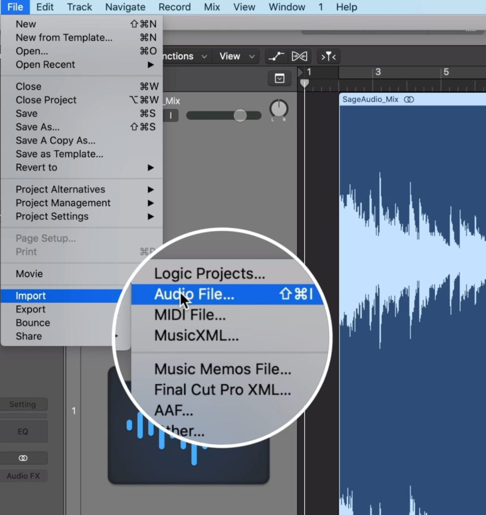 If you can't drag and drop the file, import it and set up your session.