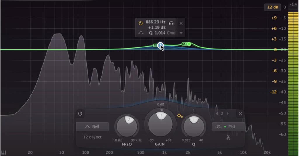 In the above example, we amplified frequencies to bring the vocal and mid-range forward.