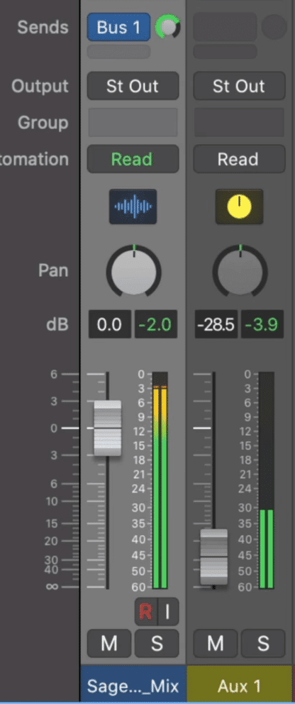 Set the bus send to unity and reduce the volume of you Aux track.
