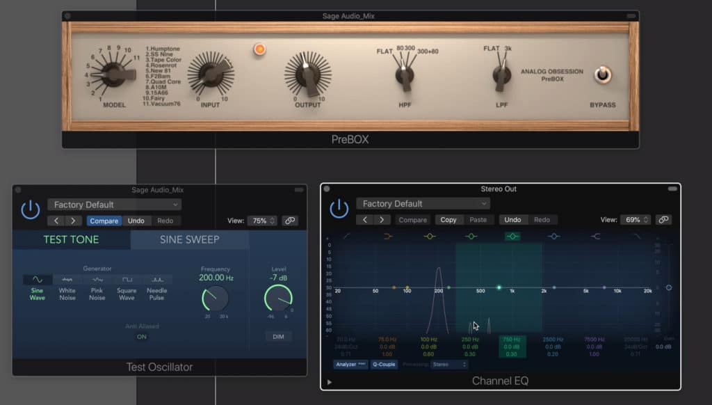 Using a 200Hz sine wave, we can measure the harmonics that this plugin creates.