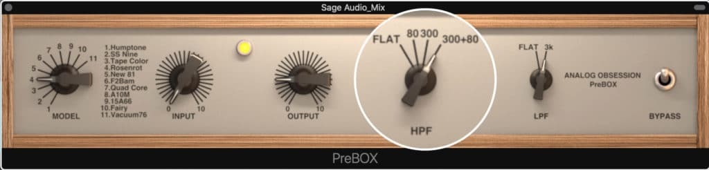 High pass and low pass filters can be enabled.