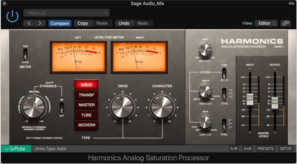 The harmonics analog saturation processor is a simple but great sounding plugin.
