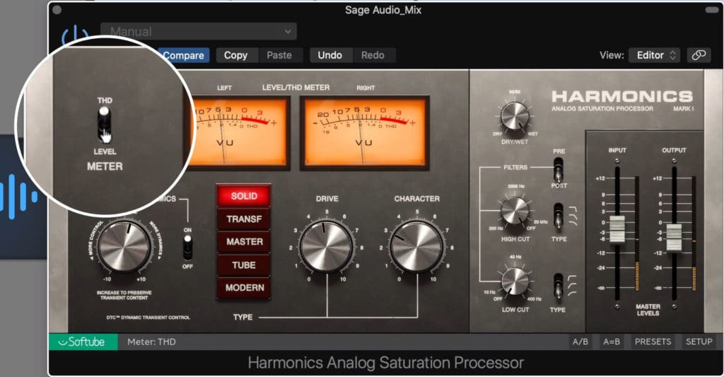 The VU meters can be switched between level and THD.