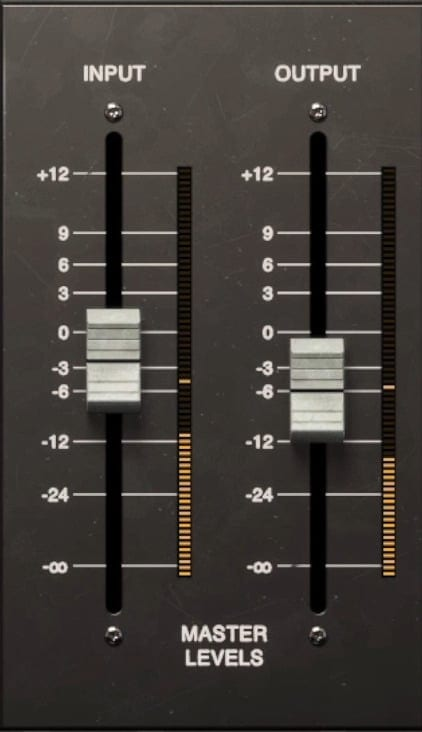 The input and output master levels are available on the right side of the plugin.