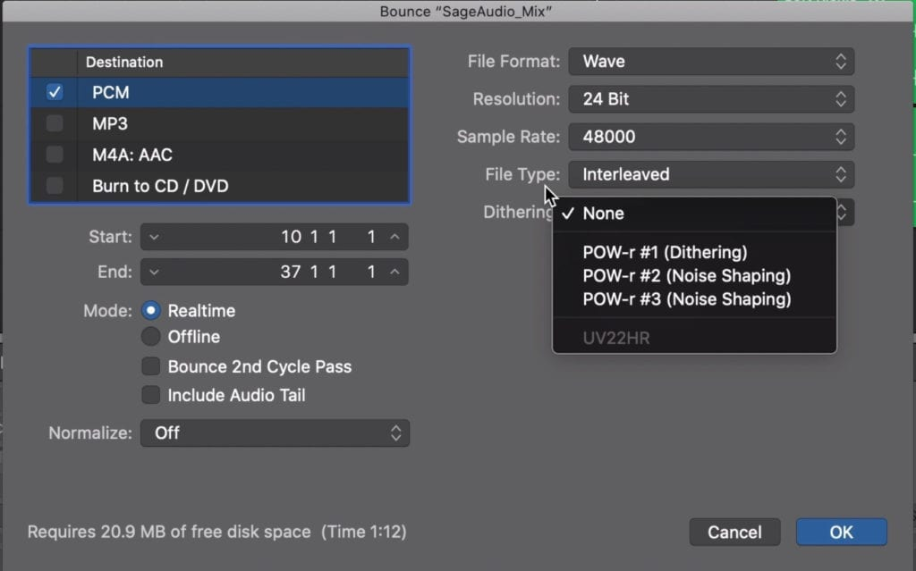 Do not use dithering when exporting your mix.