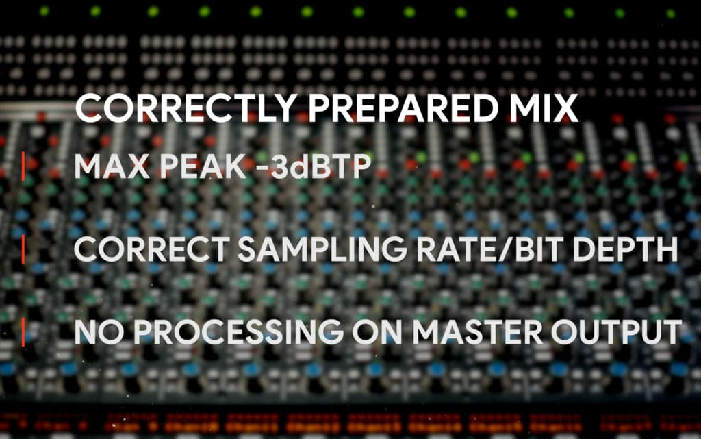 A correctly prepared mix will peak around -3dBTP, will be exported at the correct resolution, and will not include processing on the master output.