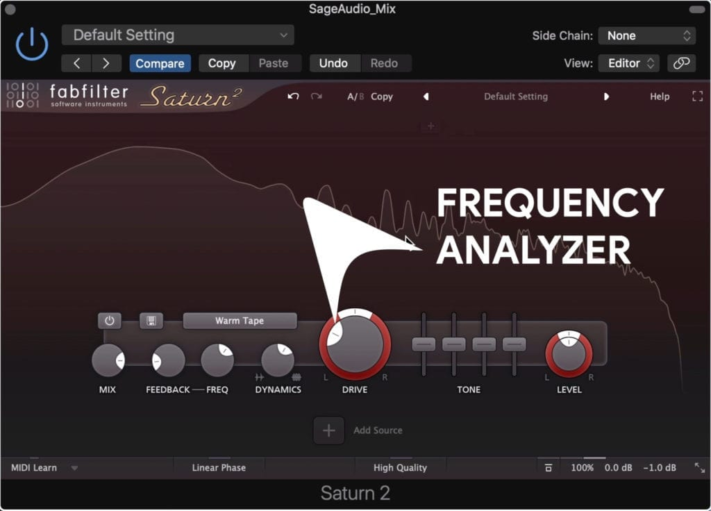 Up top is a frequency analyzer and where you'll create your multi-band distortion.