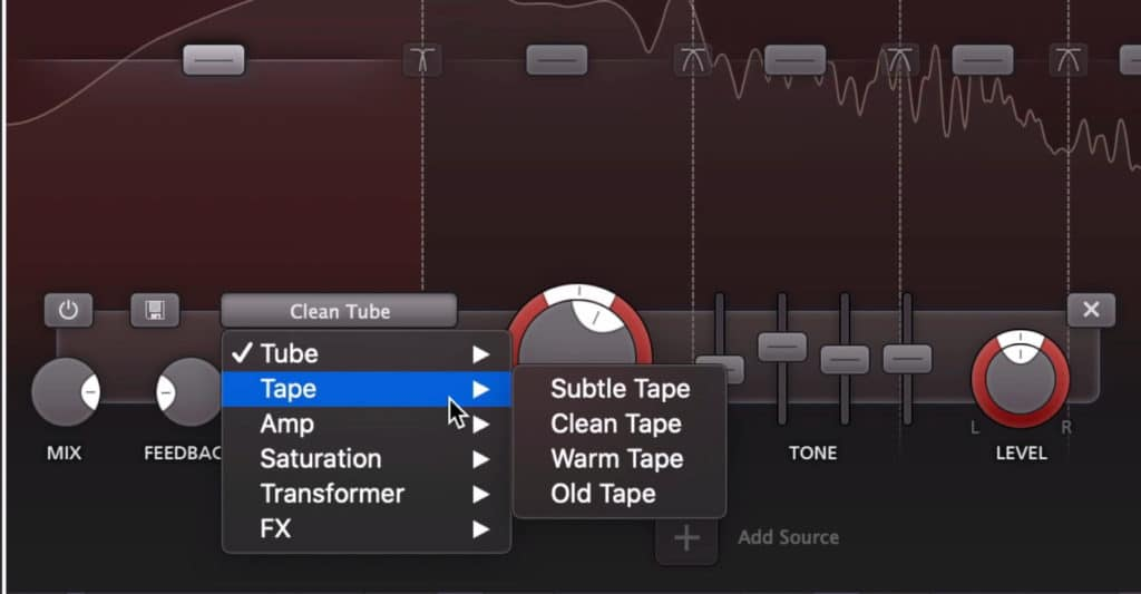The distortion section lets you adjust the style and type of distortion being used.