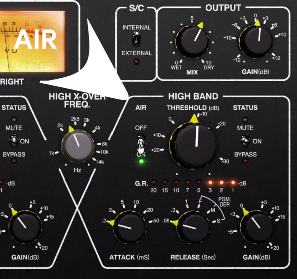 The Air function adds high frequencies back in after compression.