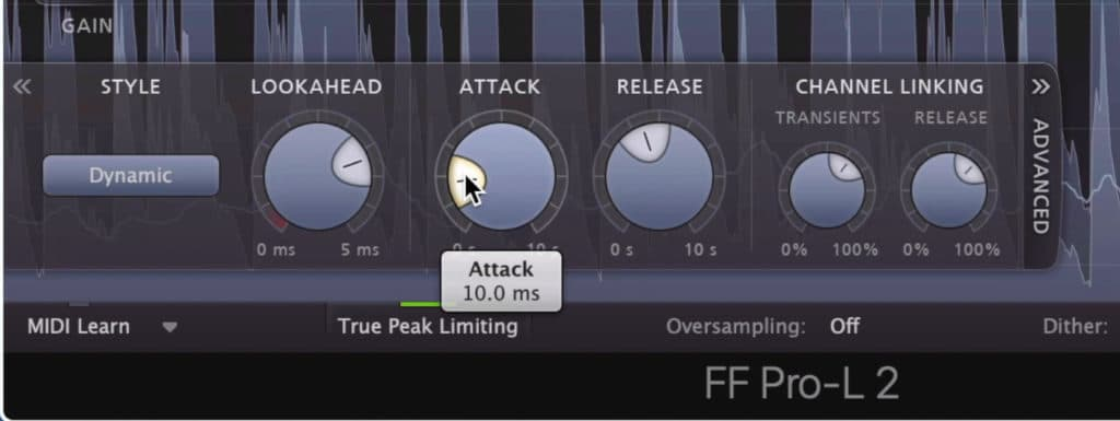 The Attack and Release work like a compressor's, and can greatly affect the tone and timbre of the limiting.