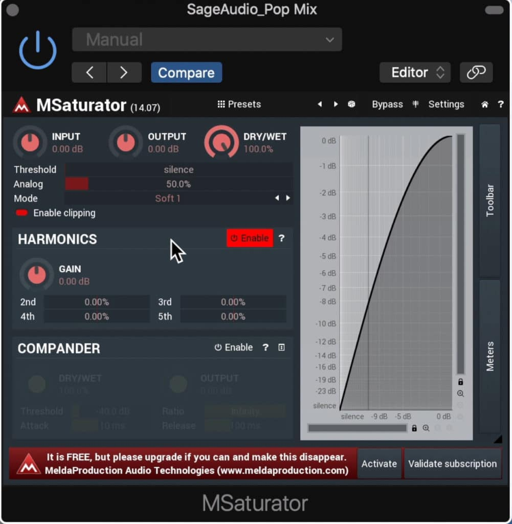 This Saturator was made with mastering in mind, but needs to be used subtly.