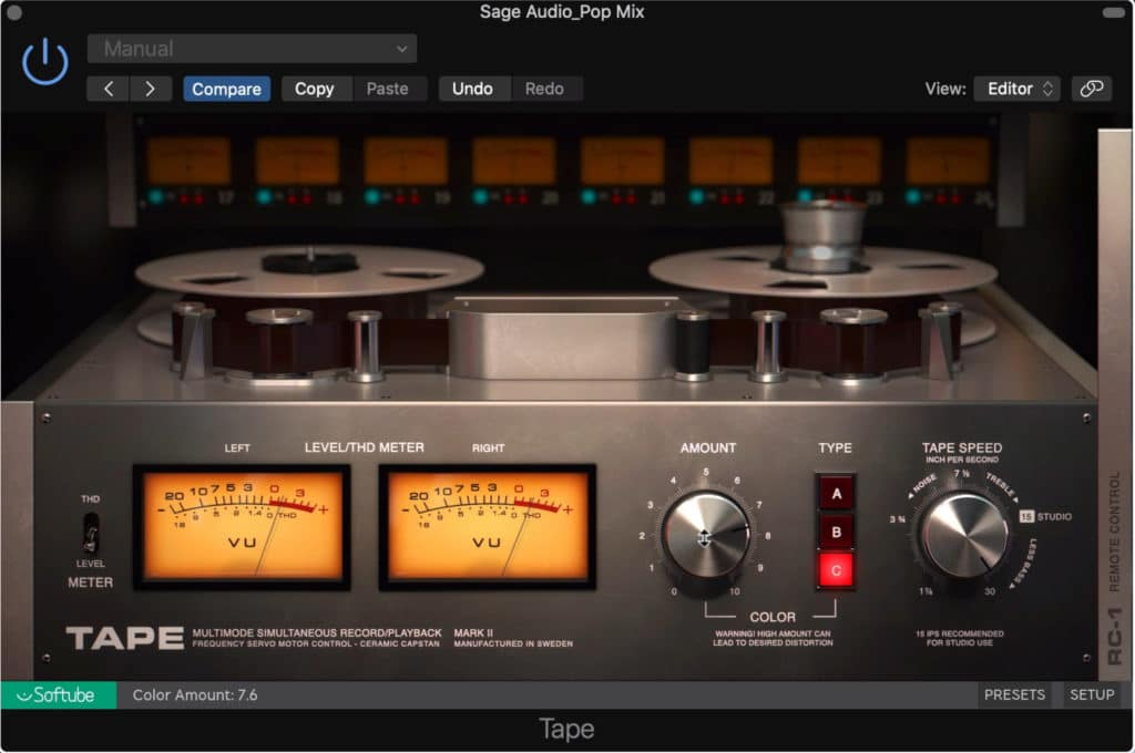 Tape by Softube is the simplest of the 3 plugins on this list.
