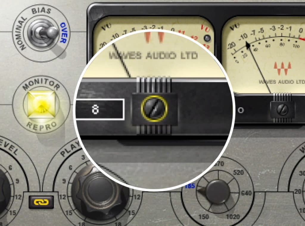 This dial alters the dBVU calibration of the meters.