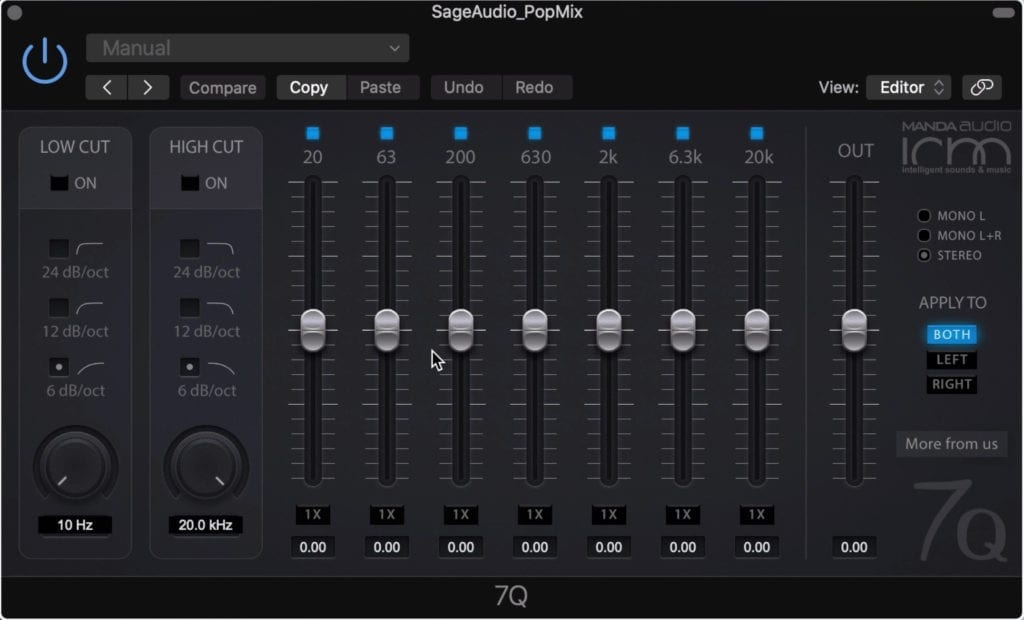 7Q is an easy to use equalizer, with setting suitable for mastering.