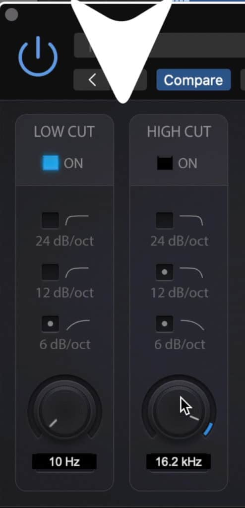 The plugin includes a low and high pass filter.