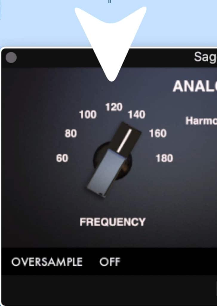 The frequency dial lets you pick what frequency you want to excite.