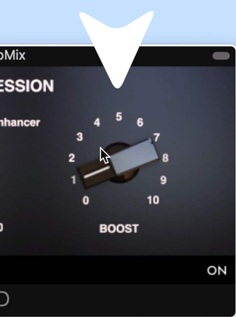 The boost dial increases that band's amplitude.