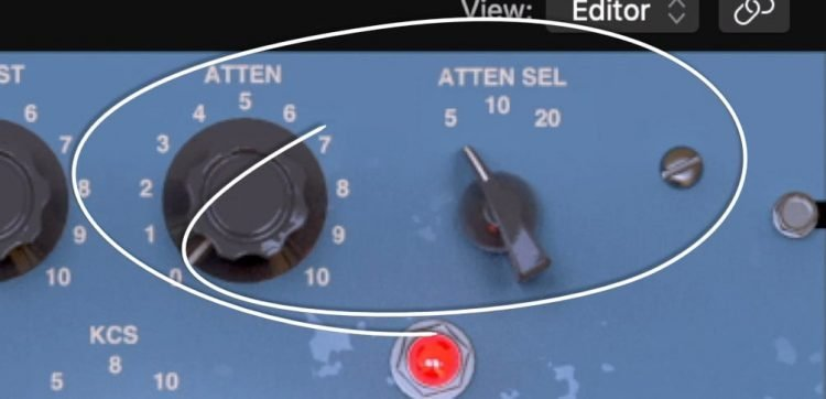 Shown are the attenuation select and amount functions.