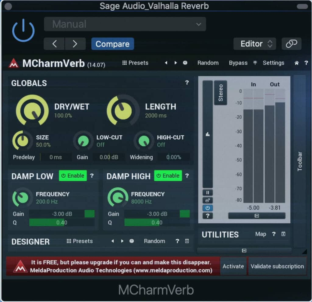 We'll compare it with the MCharmVerb, another popular free reverb plugin, to see what the difference is.
