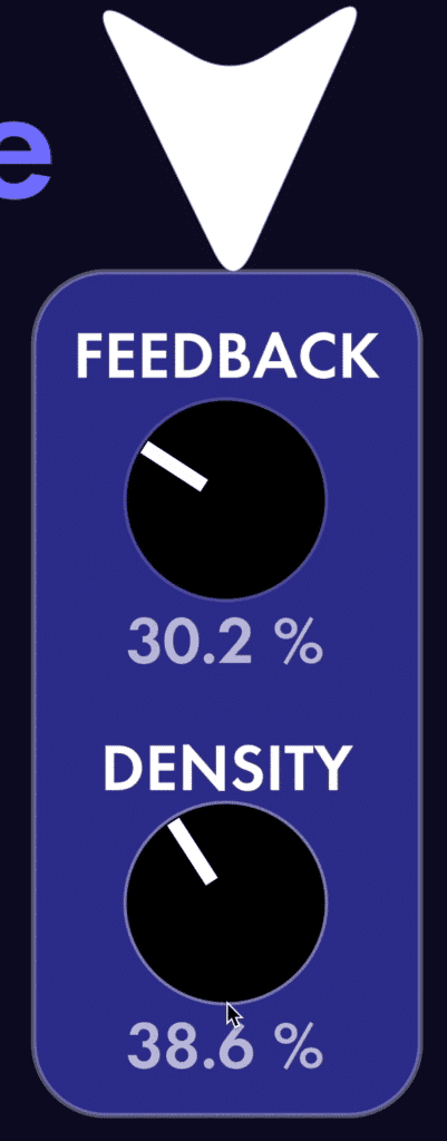 Feed back is how much fo the signal is fed back into the delay, and density is the number of reflections or echos.