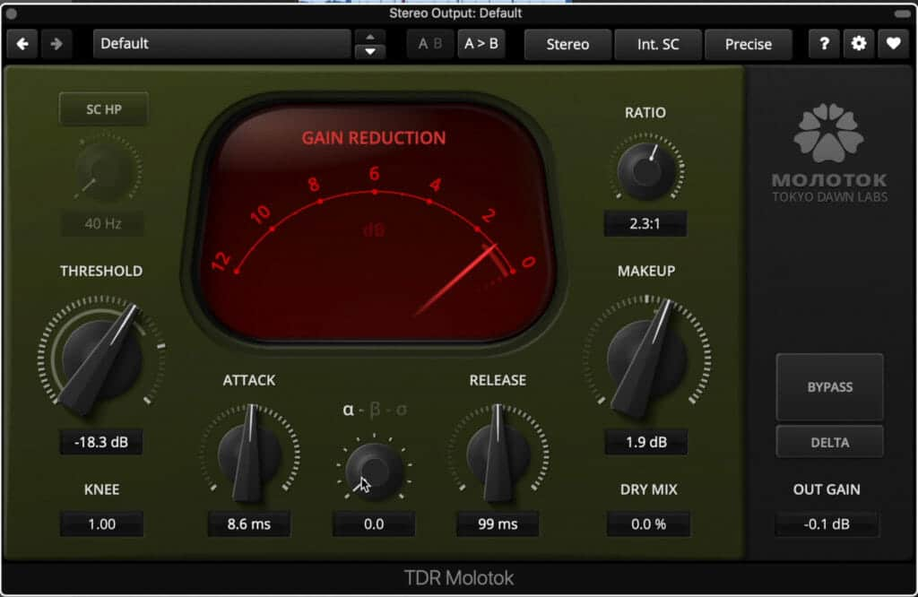 I only used about 2dB of attenuation on the full mix, and set it to beta (not shown in the photo).