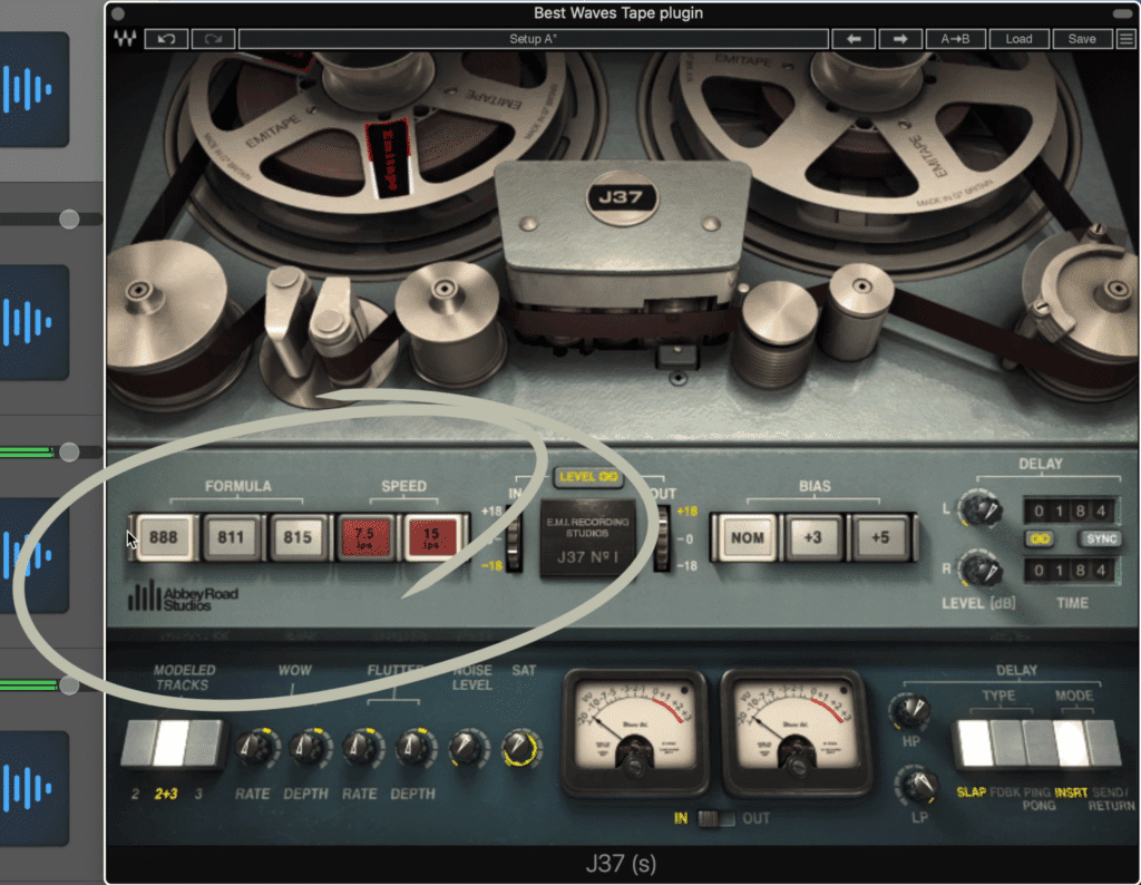 The plugin offers 3 distinct tape formulas for different levels of distortion and compression.
