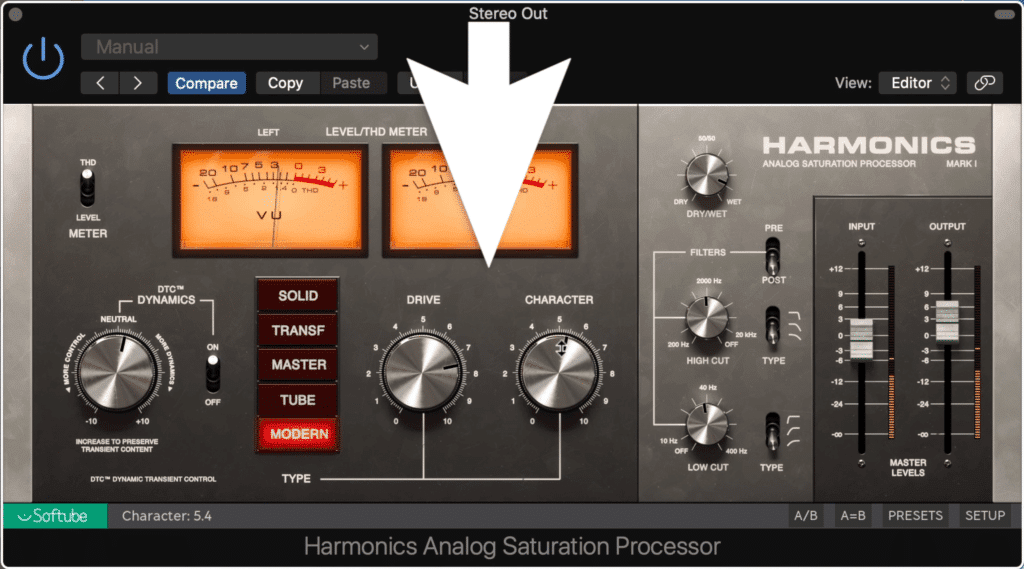 The drive, character, and type functions make up the majority of the plugin's timbre.