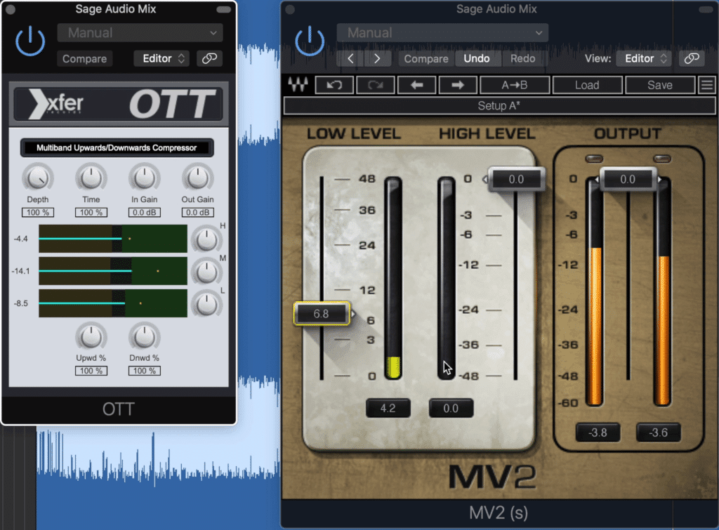 The OTT and MV2 are good options for upward compression.