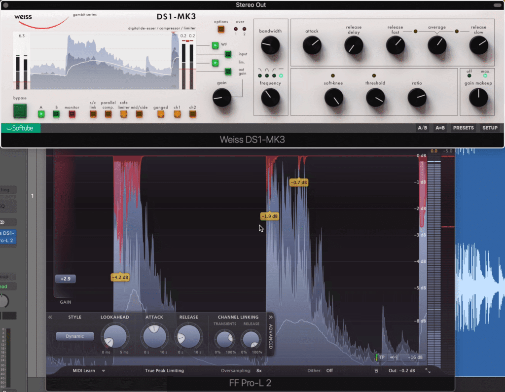 Using back-to-back limiting can help you achieve a loud master without overwhelming one limiter.