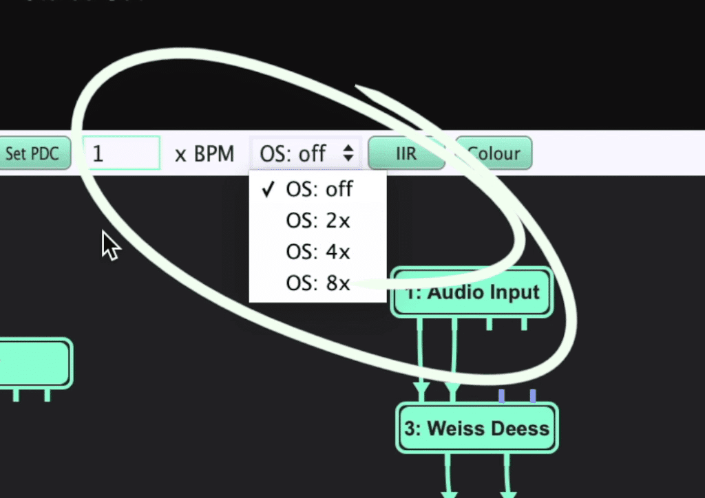 Once the signal chain is within the Metaplugin framework, increase the oversampling to affect all plugins.