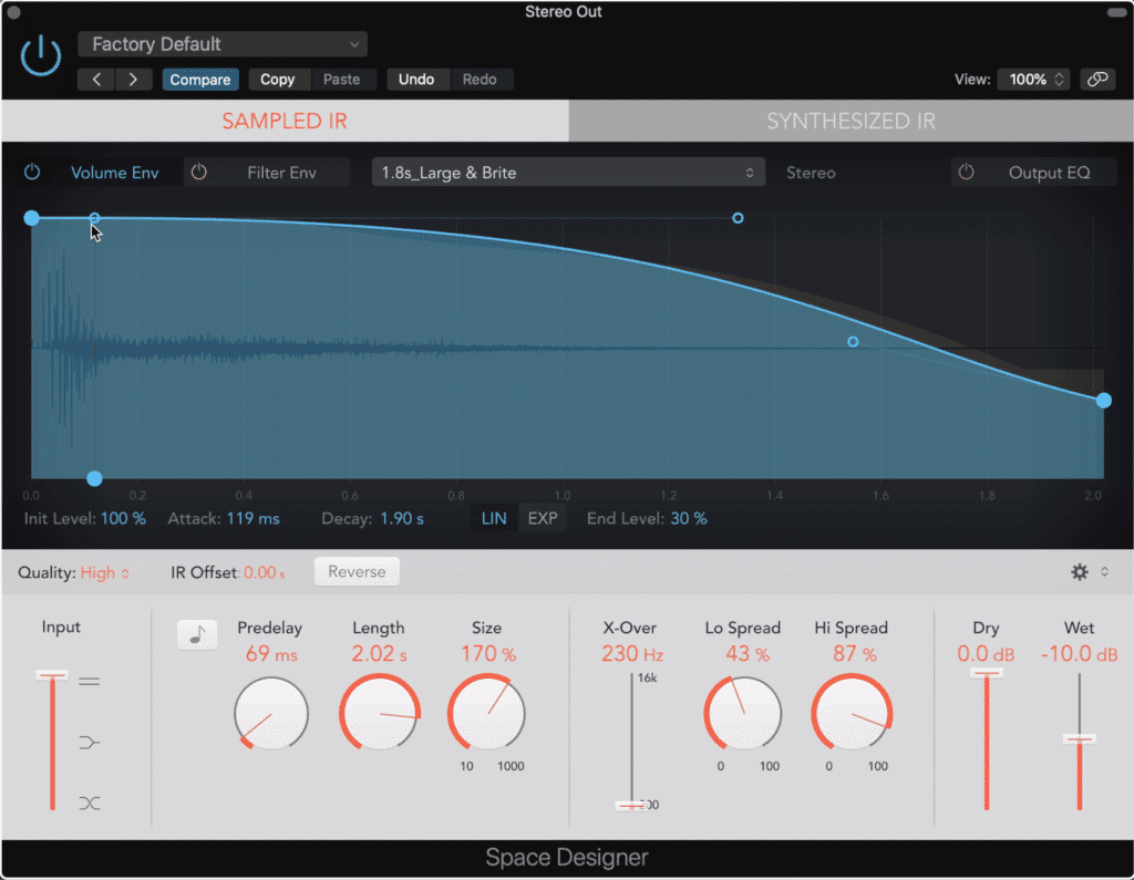 Space Designer is an intuitive and good sounding convolution reverb.