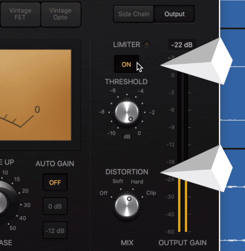 Each compressor also has a limiter and a distortion section.