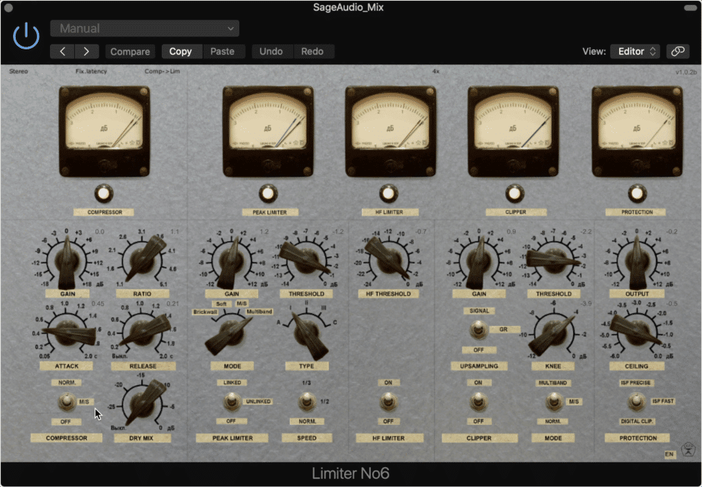 Limiter No.6 has a lot of functionality include a compressor, 2 limiters, a clipper, and an advanced output section.