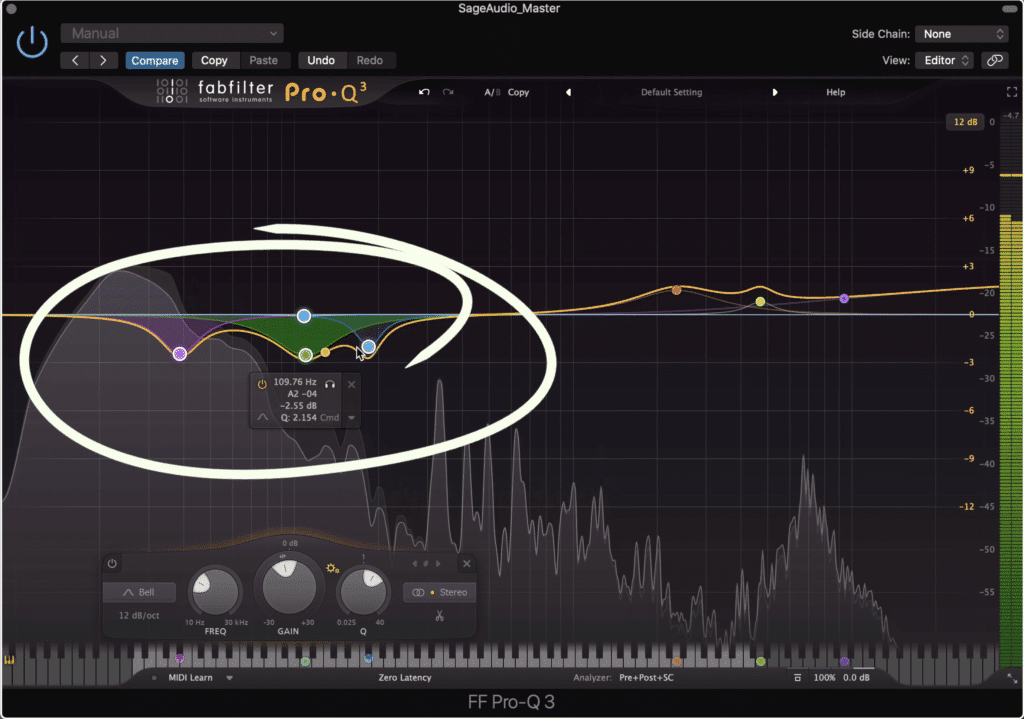 Attenuating low frequencies can add clarity to a master.