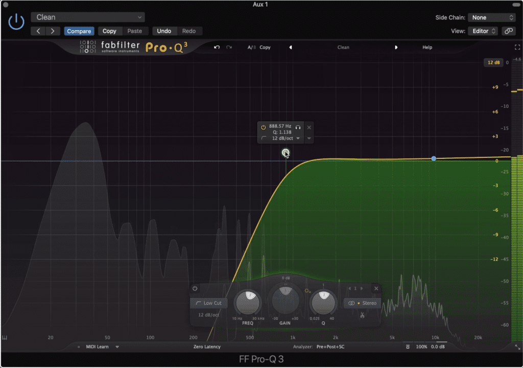 The high-pass filter needs to be introduced before low-level compression.