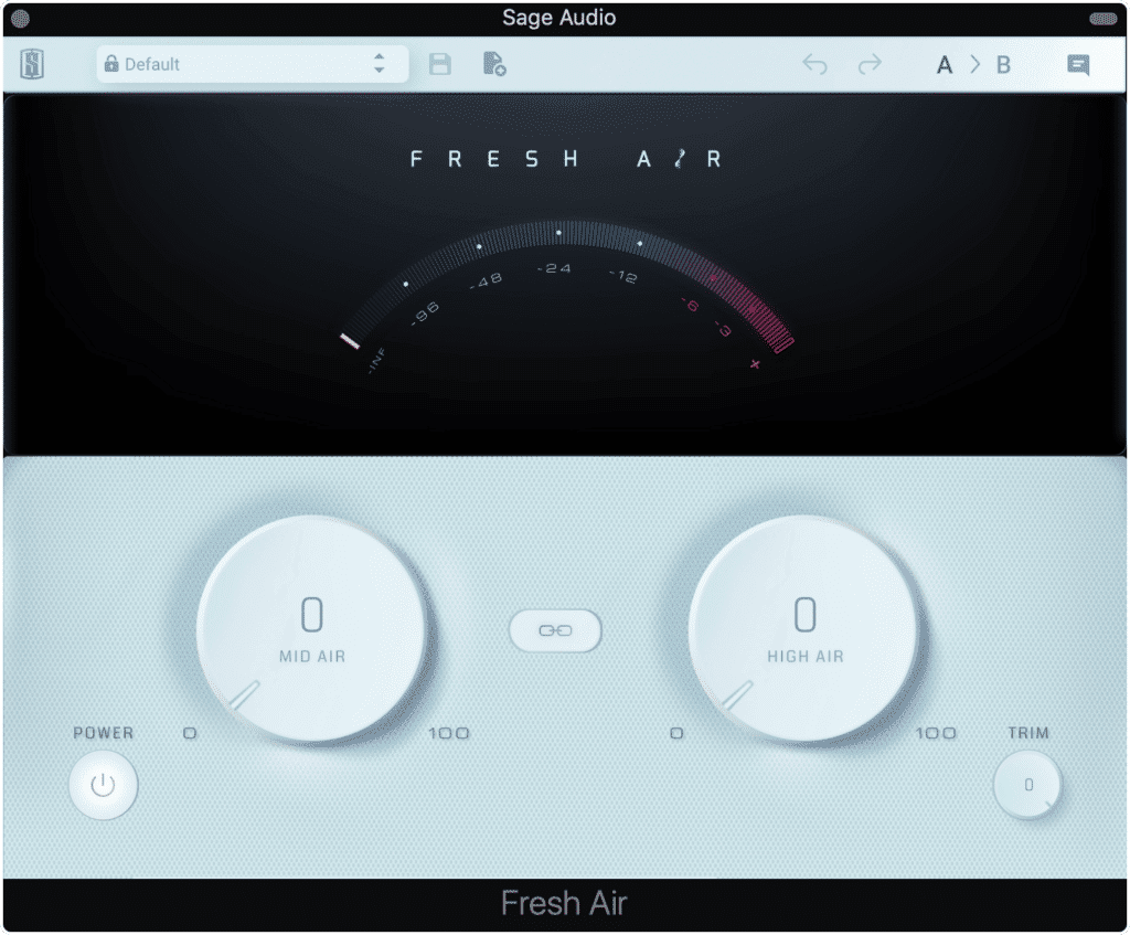 Fresh Air has a simple layout but can drastically alter the timbre of an instrument or master.