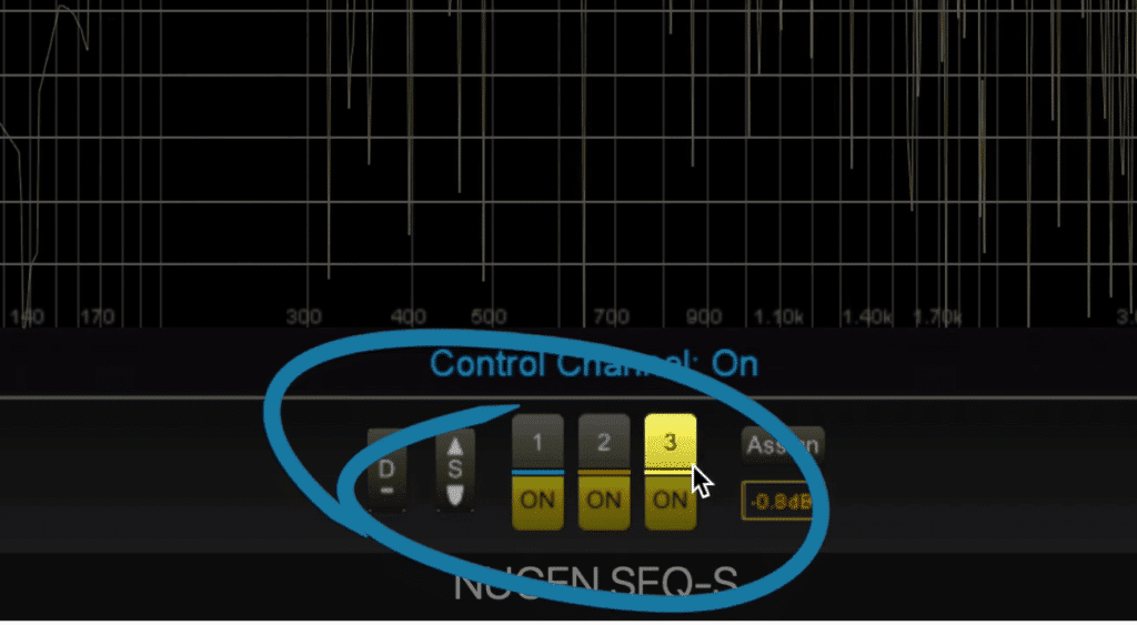 The bands are enabled and cycled through at the bottom of the plugin.